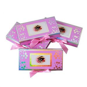 fascinating pink holographic lashes packaging with bow