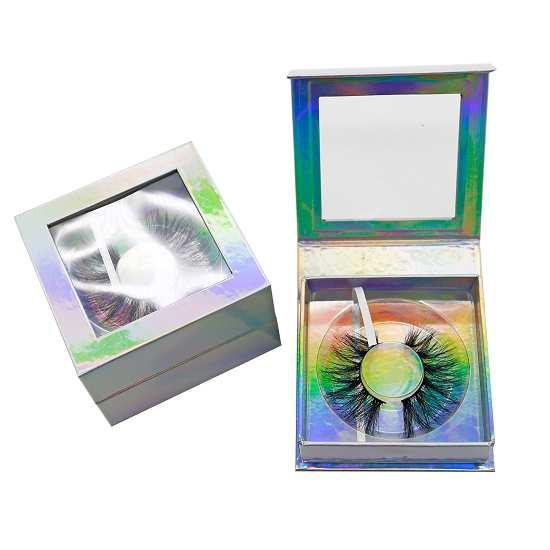 scintillating holographic square eyelash boxes