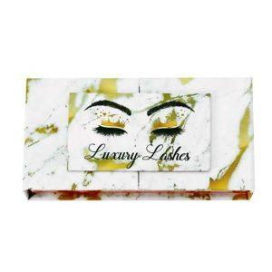 gold marble open door mink lashes packagings